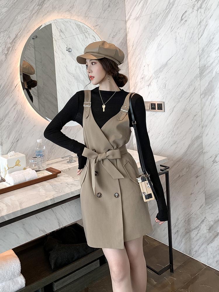 秋装2019年新款高冷系女装气质成熟背带连衣裙收腰西装裙T恤套装-悠乐衣橱-