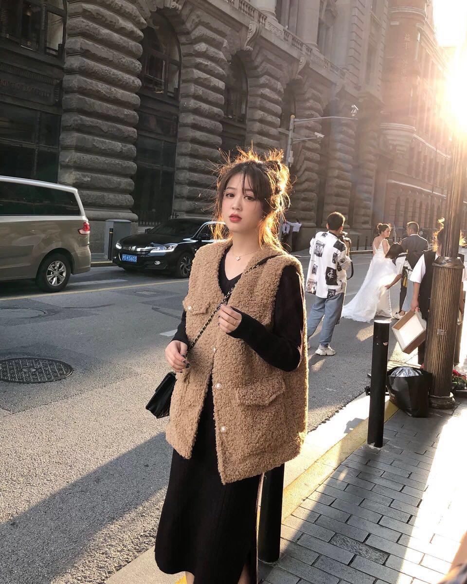 小香风羊羔毛马甲女外穿2019秋季新款韩版宽松马夹外套潮坎肩背心-俊俊服饰-