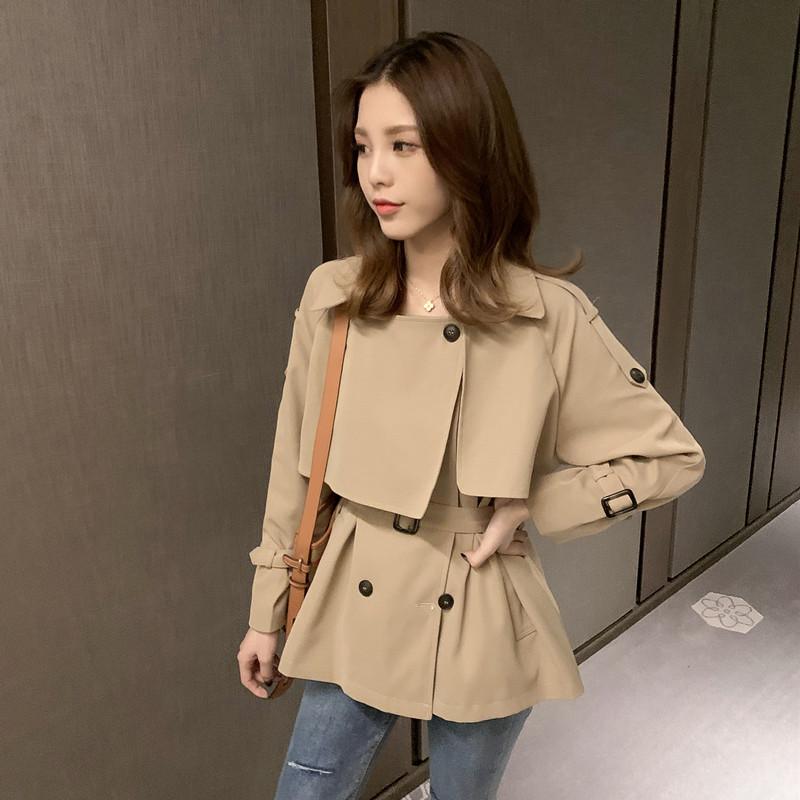 2019秋季新款韩版英伦风卡其色短风衣女宽松小个子外套设计感上衣-米莱服饰-