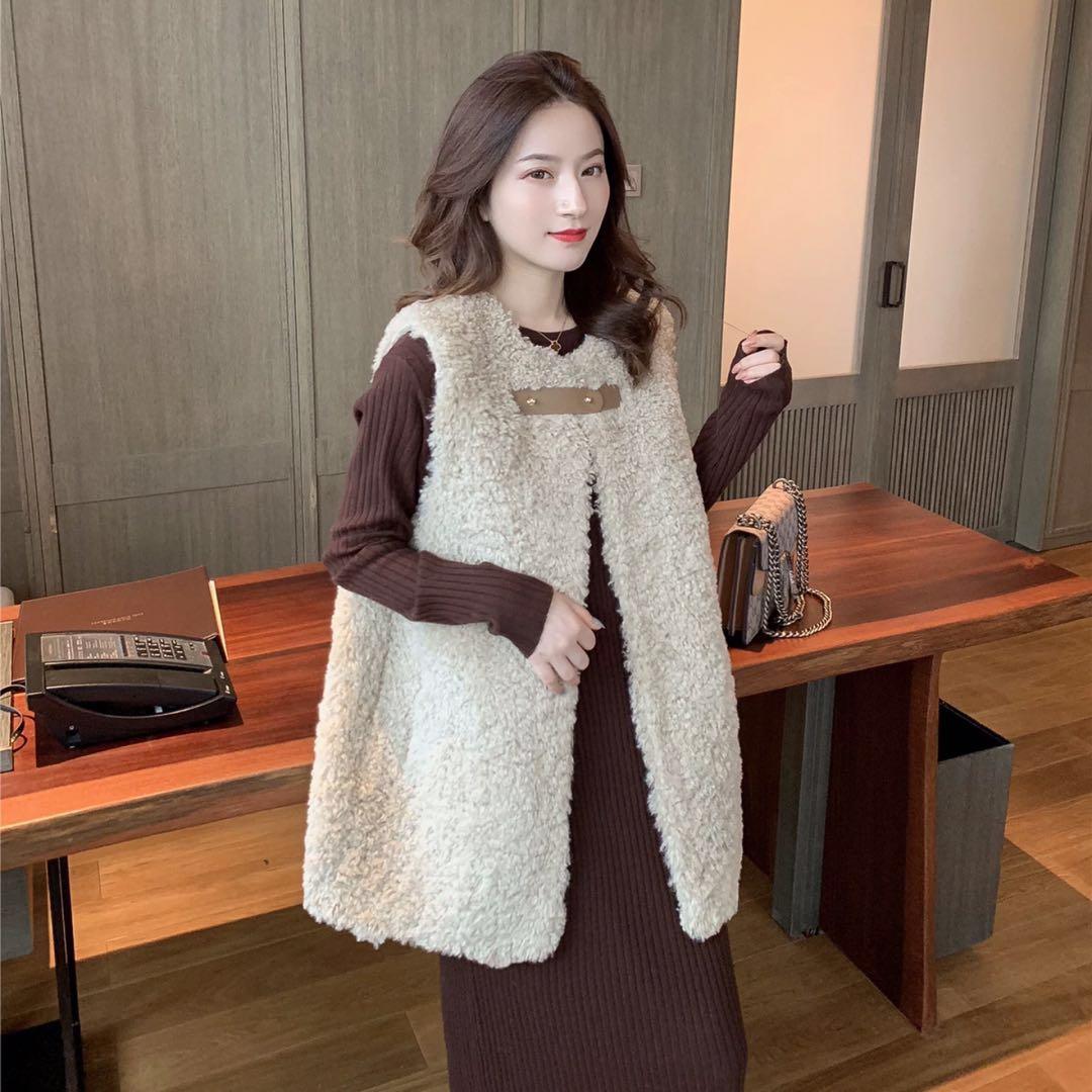 9.30新品 0点上新韩版宽松皮毛一体无袖羊羔毛马甲E9520-俊俊服饰-