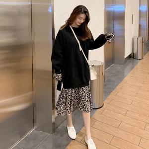 YF24287# 韩版秋季大码女装新款遮肚显瘦拼接假两件洋气减龄过膝连衣裙