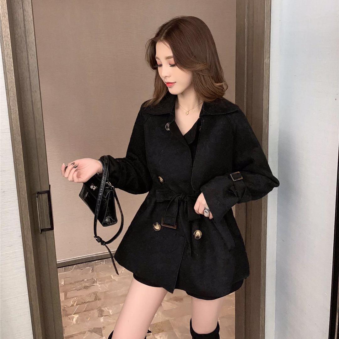10.7新品 0点上新韩版复古翻领修身系带双排扣毛呢外套E10123-俊俊服饰-