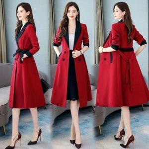 YF25291# 风衣女中长款秋装新款韩版时尚大衣气质收腰显瘦chic过膝外套