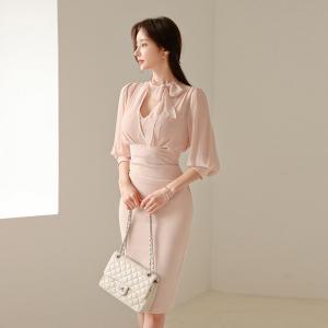 YF63423# 新款女装五分袖收腰显瘦包臀连衣裙