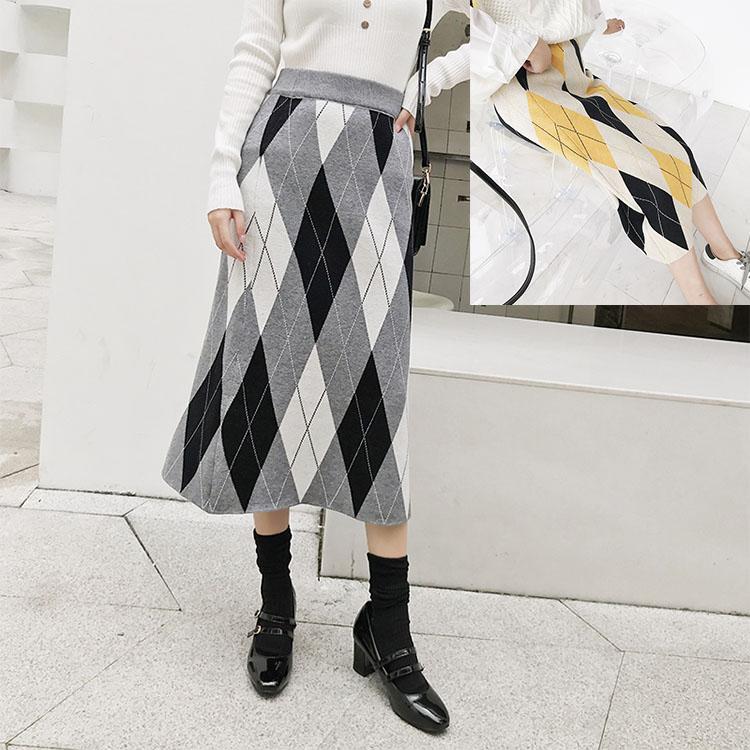 中长款包臀裙菱形格子女韩版裙半身裙中长毛线欧美风修身遮肉减龄-广州芭比-