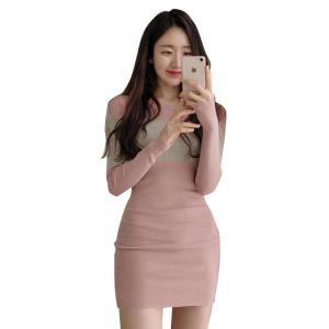 YF11659# 秋冬新款女装针织收腰显瘦包臀连衣裙毛衣 服装批发女装直播货源