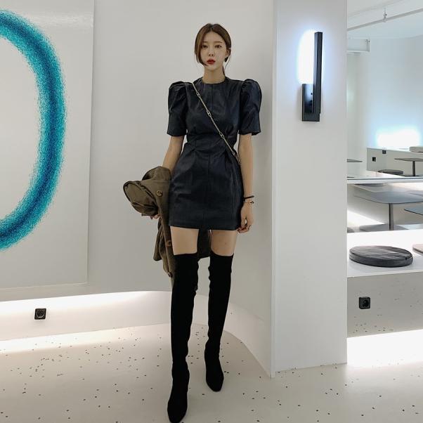 大量现货 小香风泡泡袖收腰漆皮加厚重工连衣裙-INeedU韩风-