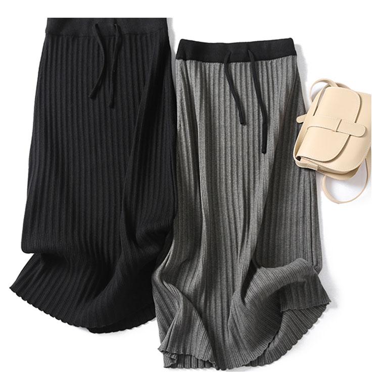 中长款高腰修身包臀打底针织羊毛半身裙女一步裙针织港味秋冬新款-广州芭比-