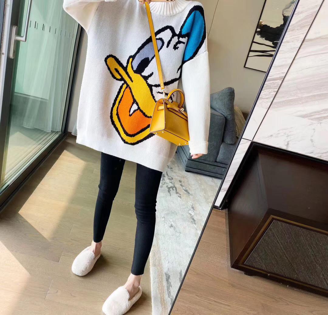 韩版半高领卡通毛衣女宽松上衣+抓毛打底裤套装-包子铺-