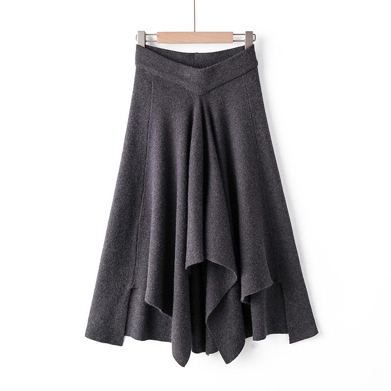 不规则拼接半身裙女2019秋季新款松紧腰纯色中长款不对称下摆裙子-广州芭比-