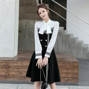 YF10578# 新款秋冬韩版长袖气质修身连衣裙法式复古黑白拼色裙子 服装批发女装直播货源