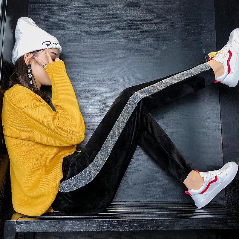 实拍现货2019冬装新款女装金丝绒加厚胖宽松加厚胖mm运动九分裤-红日女装-