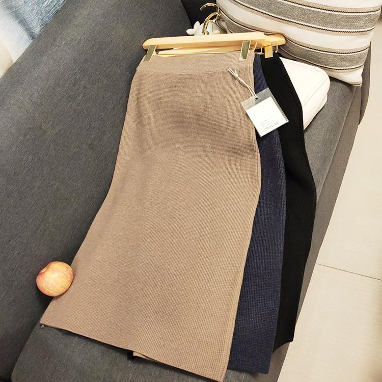 秋冬新品针织半身裙松紧直筒中长款包臀修身显廋加厚一步裙黑色开-广州芭比-