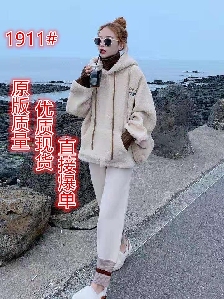 秋冬2019百搭超火cec外套洋气叠穿加绒加厚羊羔毛女士卫衣女装潮-悦旺服饰-