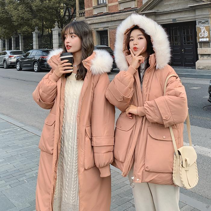 实拍韩版棉衣女闺蜜装连帽大毛领长款过膝羽绒棉服面包服-千姿秀羽绒服-