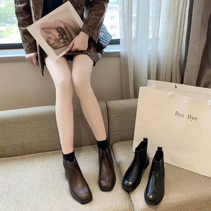 实拍 实价 2019冬季韩版松紧带瘦瘦靴 时尚百搭潮流切尔西靴-Catwalk shoes-