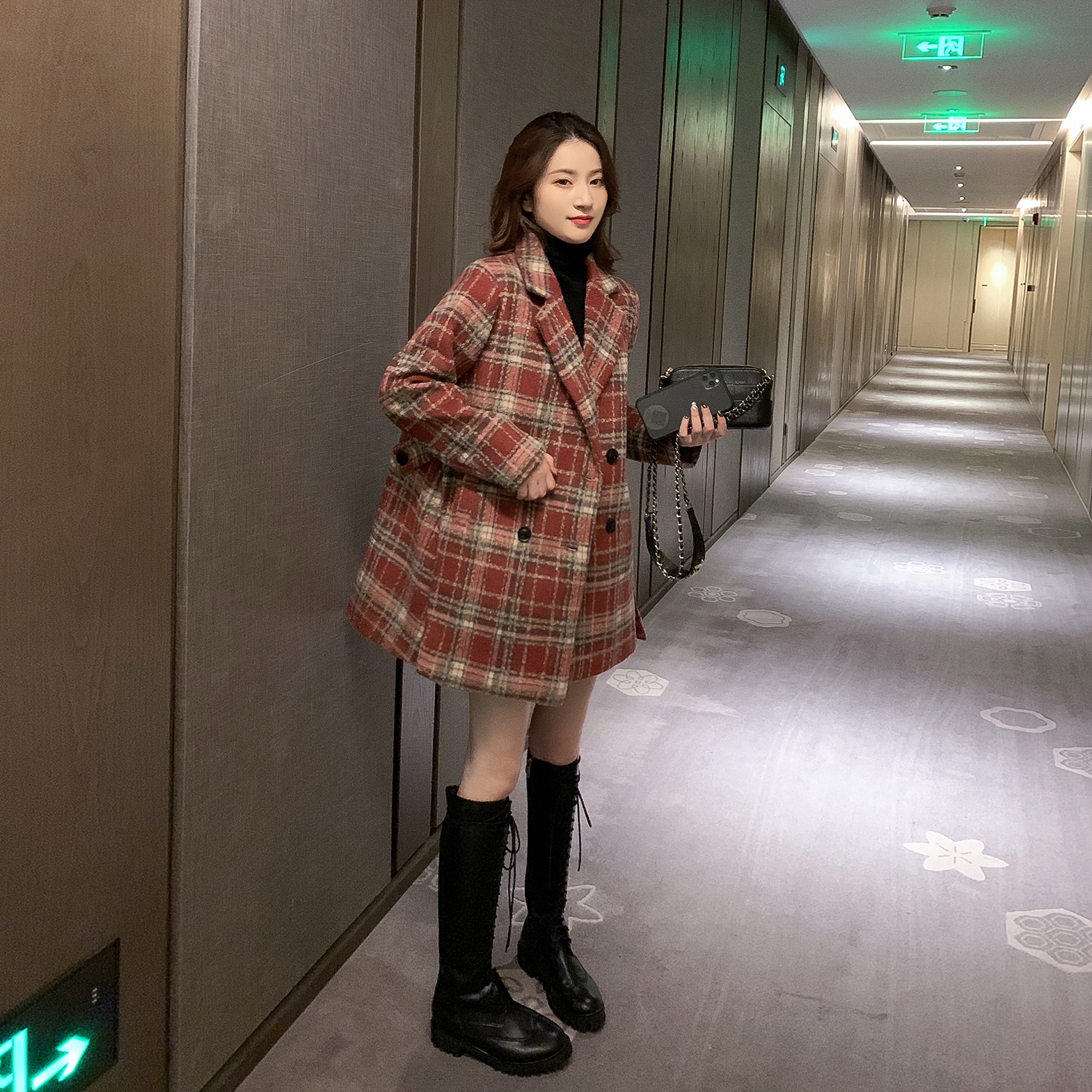 2019冬装新款韩版格子中长款毛呢大衣女加厚学生外套宽松复古上衣-烔炜服饰-