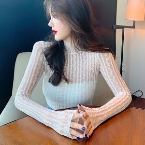 YF68758# 复古蕾丝打底衫女性感长袖上衣秋冬高领网纱内搭小衫