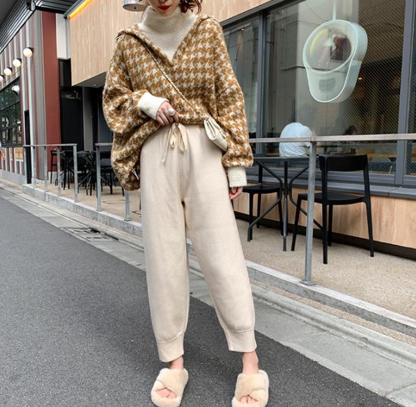 韩版套头连帽毛衣女假两件+奶奶裤针织裤套装两件套-包子铺-