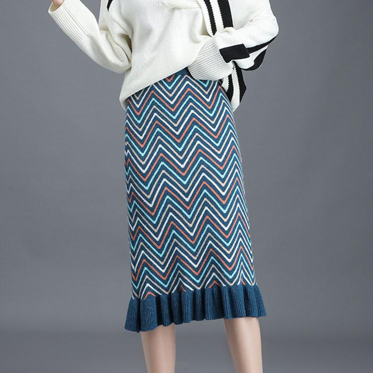 加厚针织荷叶边条纹毛线中长款鱼尾过膝高腰遮胯显瘦半身裙配毛衣-广州芭比-