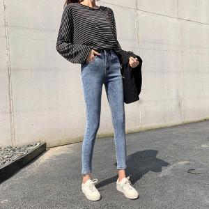蓝灰色牛仔裤女九分裤春季高腰弹力紧身显瘦小脚长裤
