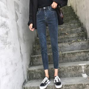 网红牛仔裤女九分裤春季高腰弹力紧身显瘦小脚女裤子