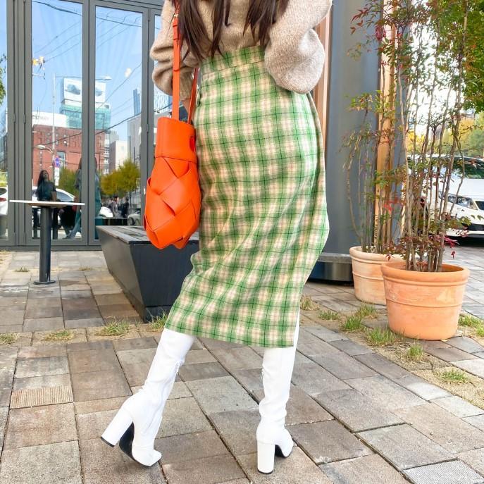 复古格纹设计感侧边系扣开衩口长款半身裙 2色入-INeedU韩风-