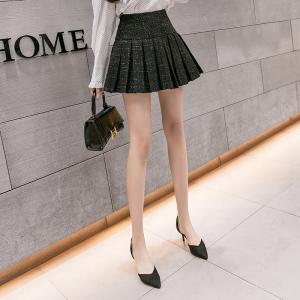FS88159# 银丝百褶裙a字短裙女冬季新款高腰显瘦半身裙黑色毛呢裙韩版 服装批发女装货源