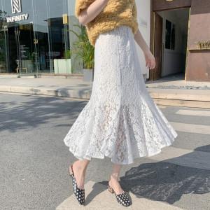 YF27370# 新款高腰蕾丝白色鱼尾裙长款弹力内衬黑色性感裙半身裙 服装批发女装货源
