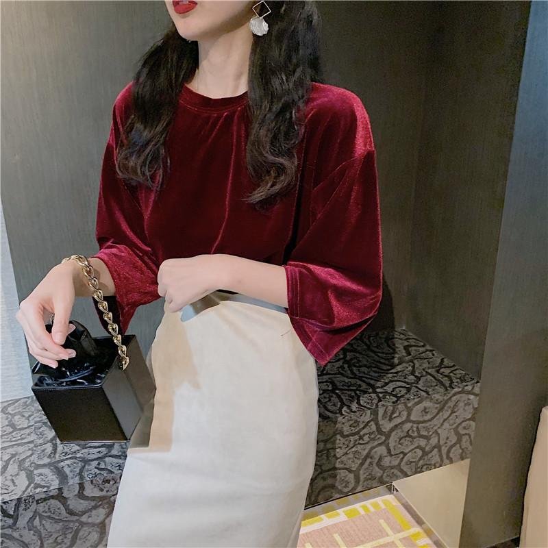实拍实价~韩版新款丝绒宽松半袖打底t恤+蕾丝打底衫+半身裙-希希小姐-