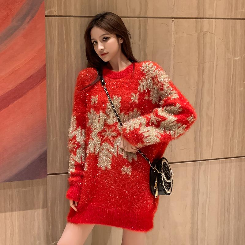 红色圣诞慵懒风加厚仿貂绒宽松毛衣套头女雪花2019新款冬-唯美嘉服饰-