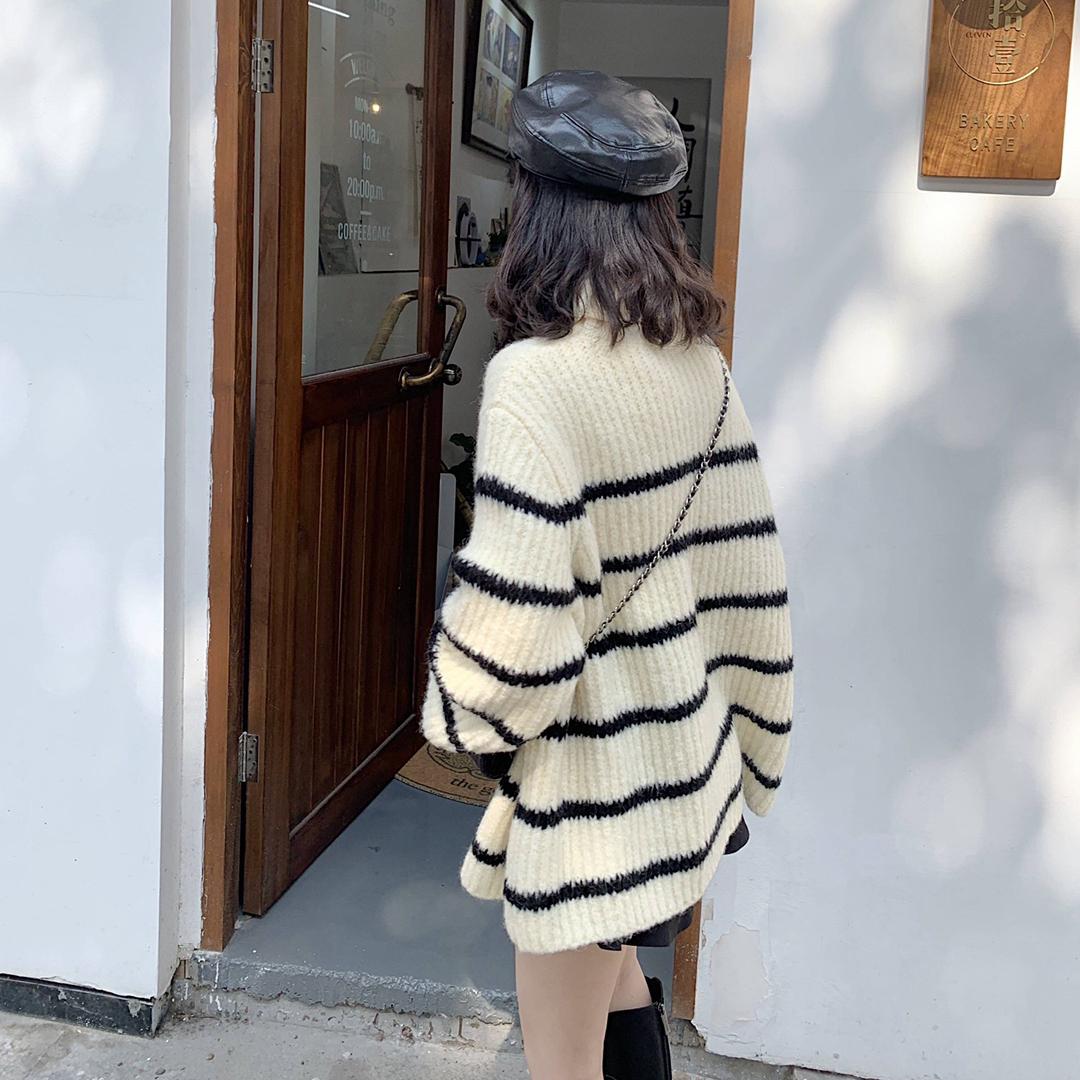 加厚高领毛衣女2019冬季新款韩版宽松百搭黑白条纹慵懒风针织衫潮-朵美服饰-