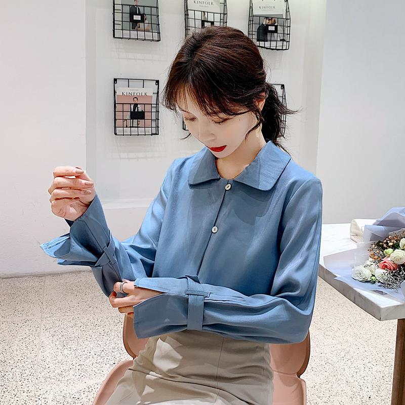 实拍 2020秋季新款设计感亮丝衬衫女百搭OL显瘦衬衣上衣-粉黛尔-