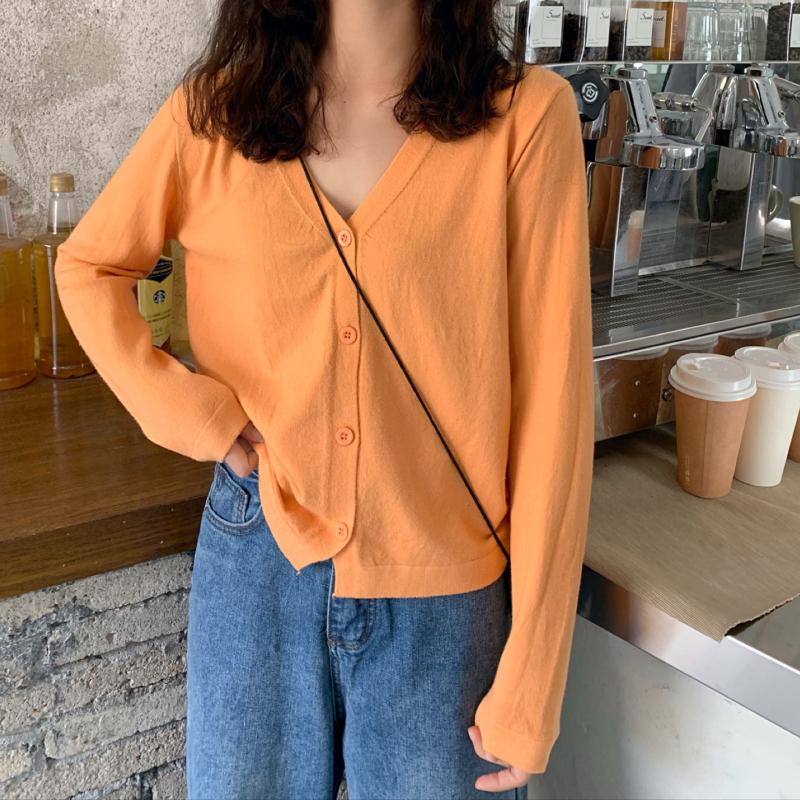 实拍实价 秋冬季新款韩版V领宽松长袖针织开衫外套女-好8-