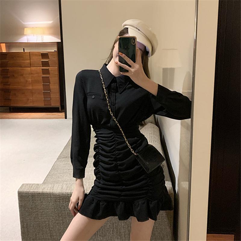 实拍实价~网红裙子2019年新款时尚修身气质荷叶边褶皱长袖连衣裙-希希小姐-