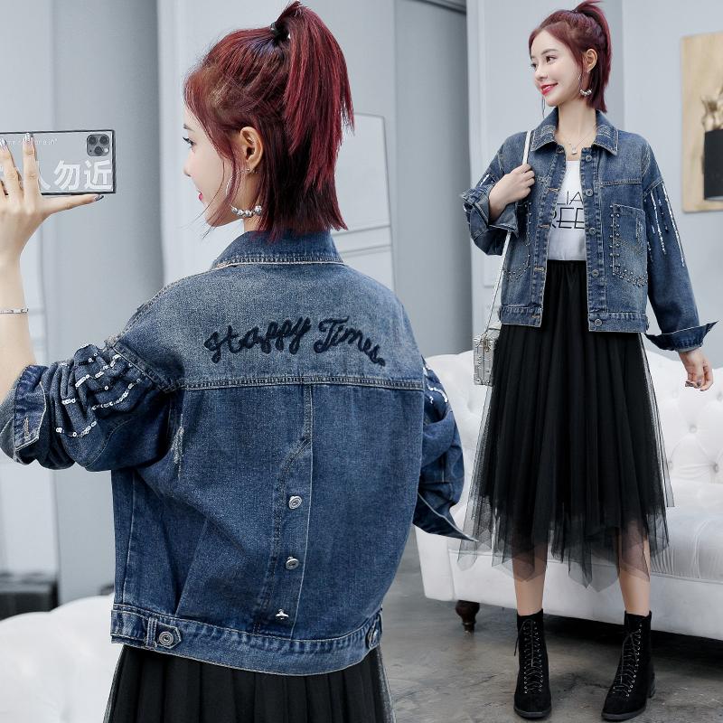 牛仔外套女短款2020新款春秋季时尚百搭宽松韩版夹克网红流行上衣-依嘟啦-