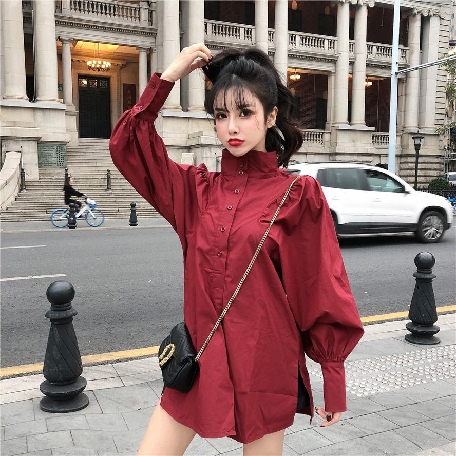 实价实拍 开春新款大牌设计气质款高领灯笼蝙蝠泡泡袖纯色衬衫潮-洋小姐の店-