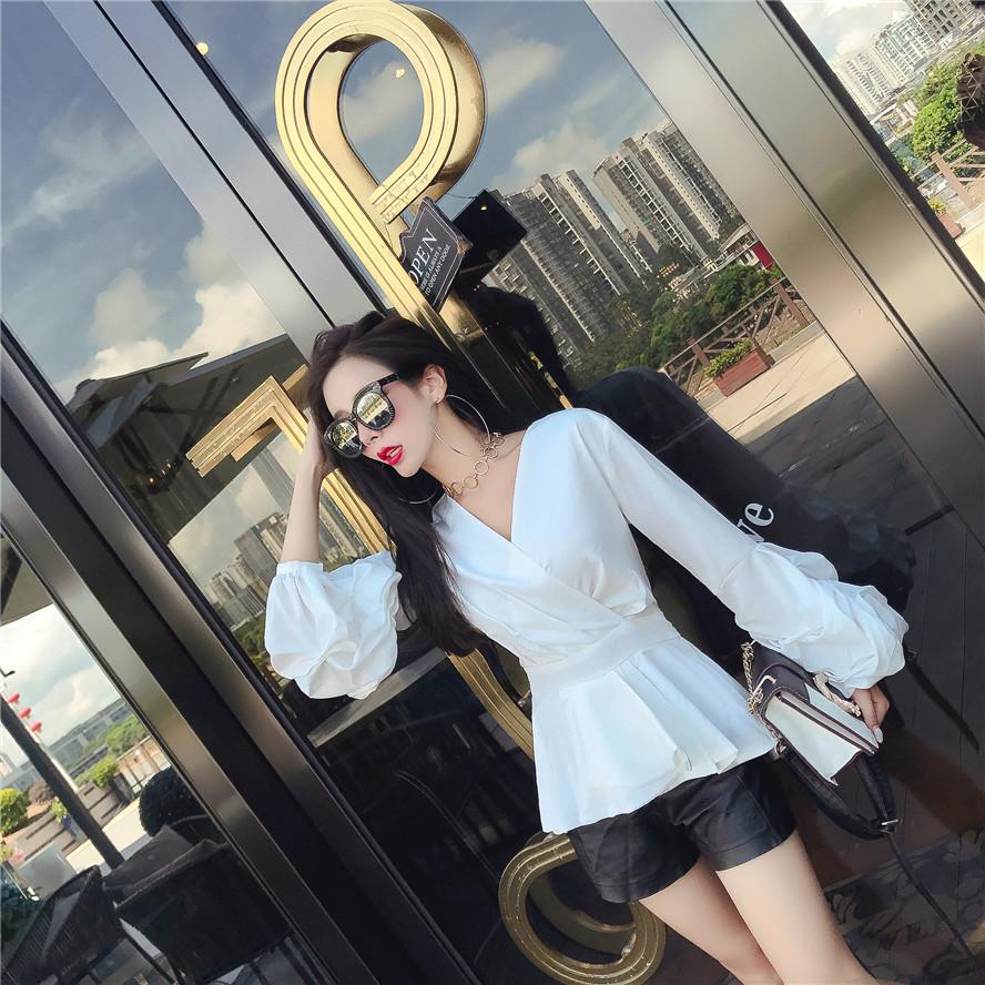 实价实拍 开春新款大牌设计v领交叉收腰显瘦花瓣袖衬衫上衣潮-洋小姐の店-