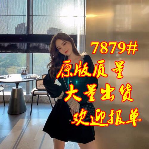 2019冬装新款复古收腰呢料珍珠扣连衣裙QD249-婉睿服饰-
