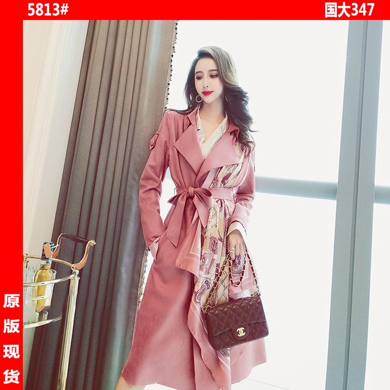 风衣女中长款2020春季韩版气质英伦风印花丝巾拼接麂皮绒长袖外套-小芒果-
