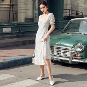 YF27161# 春夏新款白色波点收腰显瘦开衩连衣裙中长款 女装批发服装货源