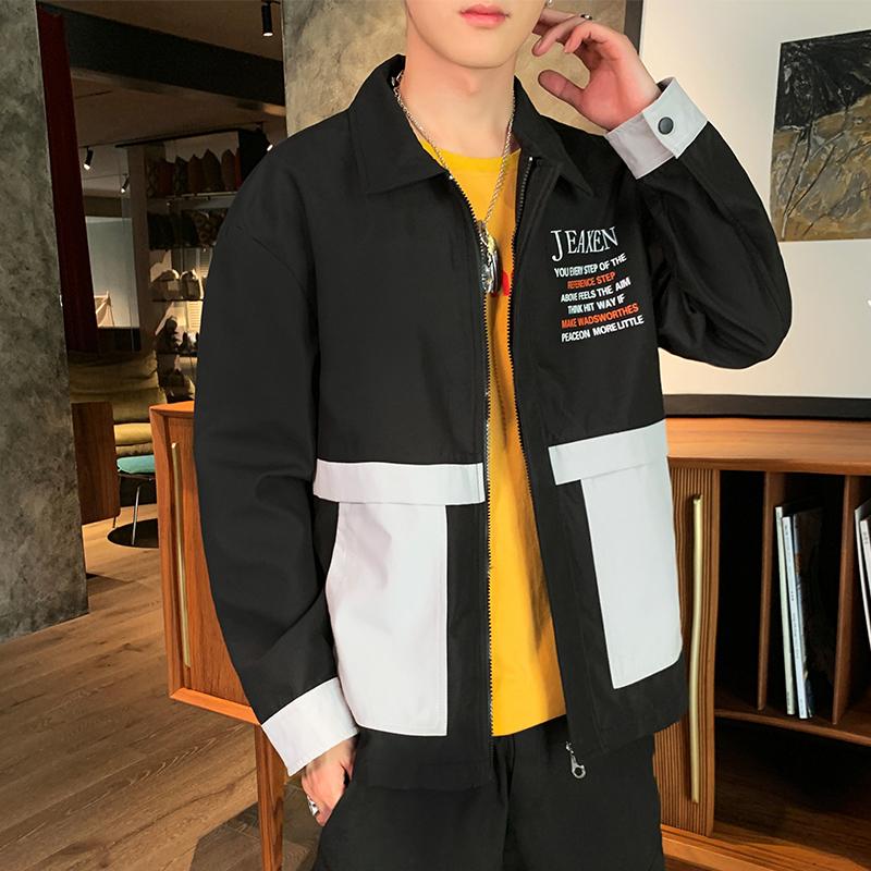 外套男2020春秋新款黑色翻领工装服韩版潮流休闲夹克-坏先生服饰-