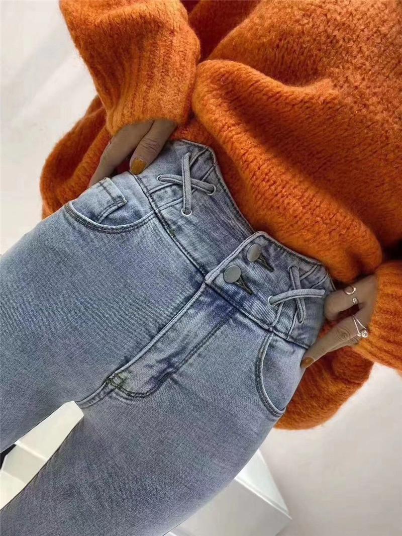 牛仔裤女2020春季新款高腰绑带修身显瘦显高百搭小脚铅笔裤潮-梦之雪时尚潮-