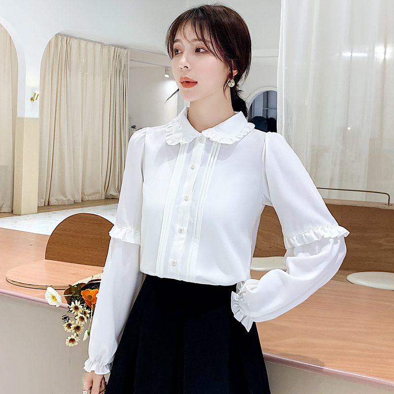 2020春季新款长袖白色衬衫娃娃领木耳荷叶边纯色雪纺衫-珍莉雅-