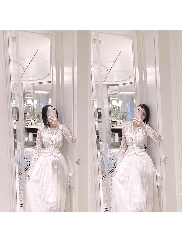 复古宫廷风蕾丝套装女春款法式荷叶边上衣网纱裙子半身裙两件套女-小芒果-