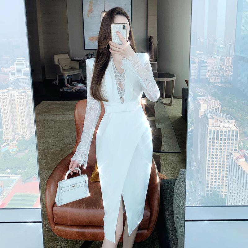 2020年春季新款收腰显瘦超仙的性感蕾丝连衣裙气质名媛西装短裙女-小芒果-