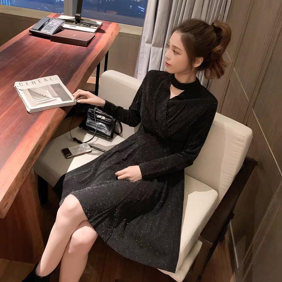 12.30新品 0点开抢韩版高腰气质挂脖丝绒亮闪闪连衣裙Q12516-妃琳服饰-