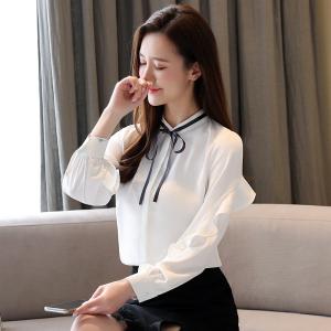 YF43703#  雪纺衫女春装新款气质长袖上衣洋气系带荷叶边轻熟御姐风衬衫