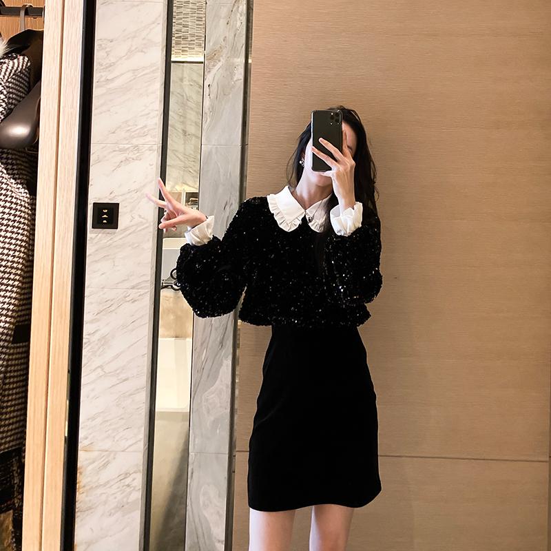 詹维尼 娃娃领黑色连衣裙女2019秋冬亮片打底内搭假两件小黑裙子-远豪服饰-