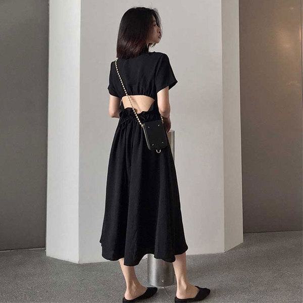 法式复古山本超仙女森系甜美过膝很仙小众心机小黑裙连衣裙-优朵拉服饰-